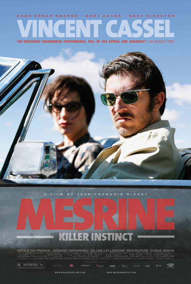 The movie poster for Mesrine: Killer Instinct with Gerard Depardieu