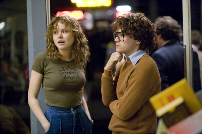 Alison Pill (left) and Emile Hirsch (right) star as real-life gay rights activists Anne Kronenberg and Cleve Jones (respectively) in director Gus Van Sant's Milk