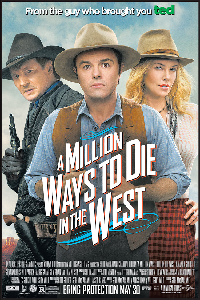 The movie poster for A Million Ways to Die in the West starring Seth MacFarlane