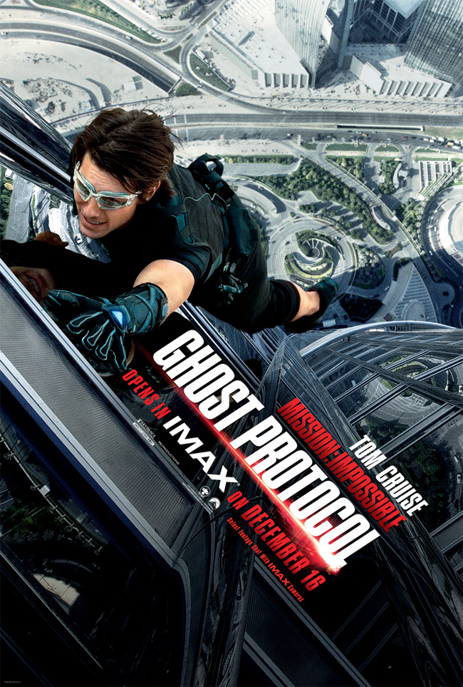The movie poster for Mission: Impossible -- Ghost Protocol starring Tom Cruise