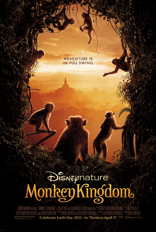 The movie poster for Disneynature's Monkey Kingdom with narrator Tina Fey
