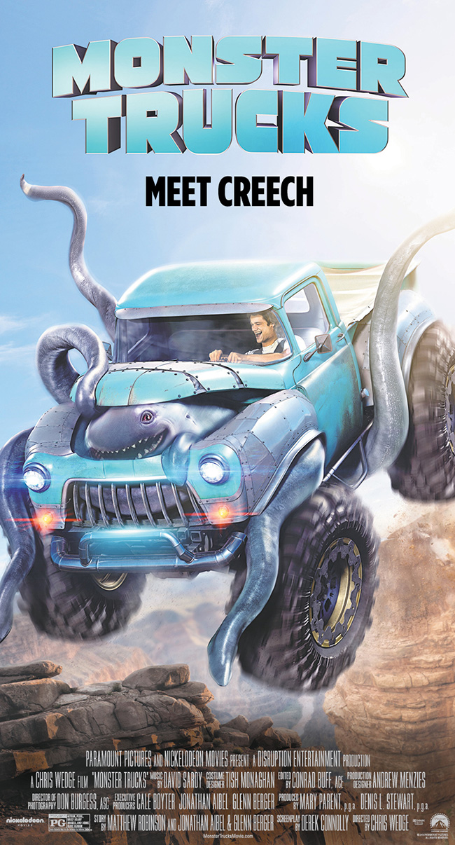 The movie poster for Monster Trucks starring Lucas Till and Jane Levy