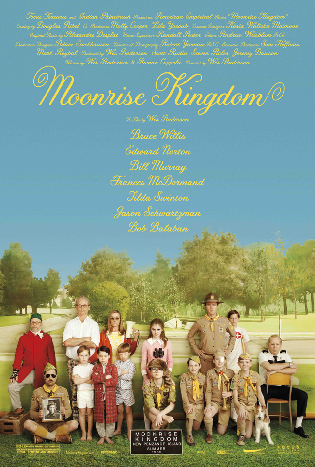 The Moonrise Kingdom movie poster with Edward Norton, Bill Murray and Bruce Willis