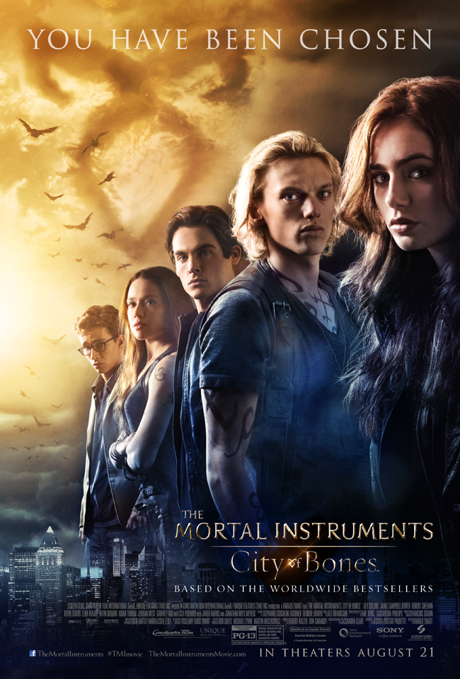 The movie poster for The Mortal Instruments: City of Bones starring Lily Collins
