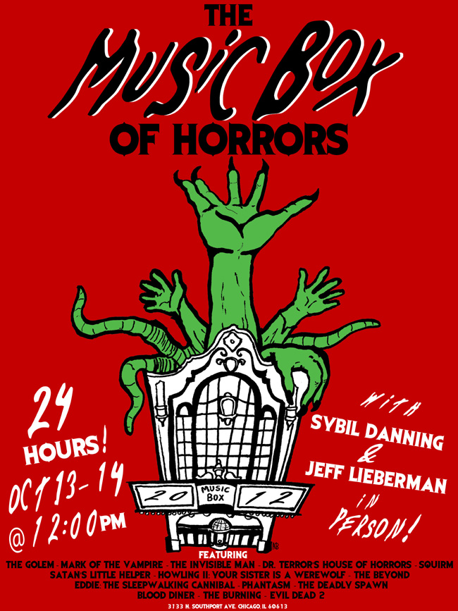 The poster for the Music Box of Horrors at the Music Box Theatre