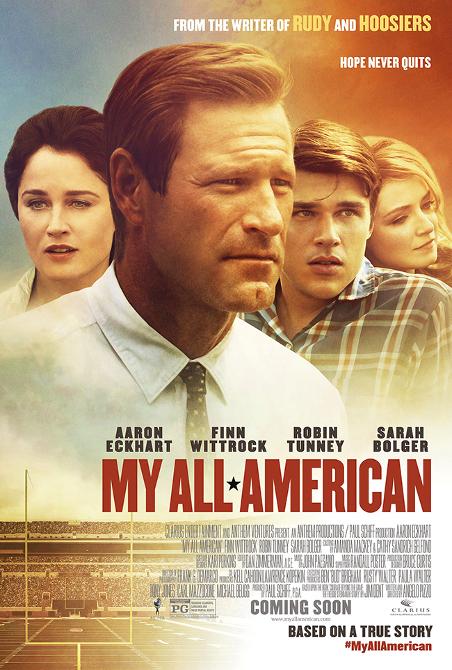 The movie poster for My All American starring Aaron Eckhart and Finn Wittrock