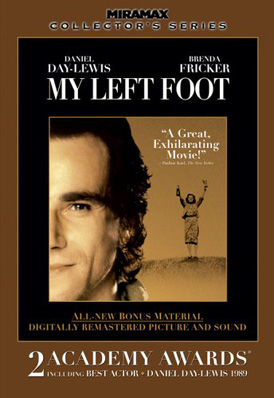 The movie poster for the Jim Sheridan-directed film My Left Foot: The Story of Christy Brown