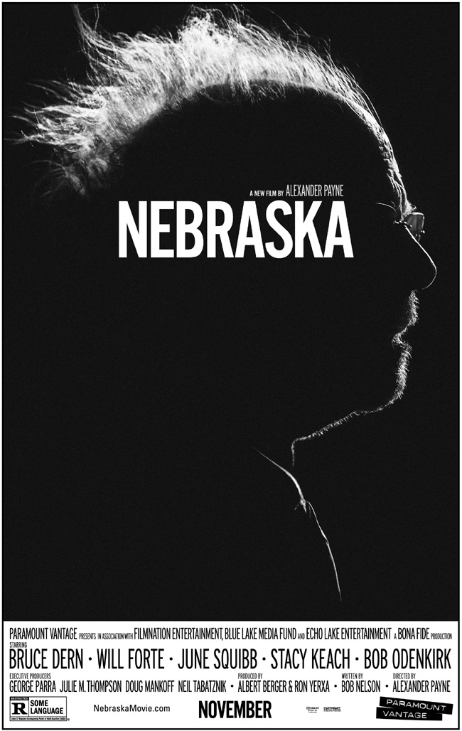 The movie poster for Nebraska starring Bruce Dern and Will Forte