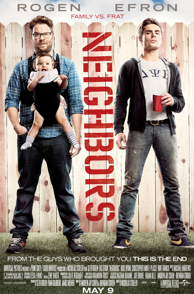 The movie poster for Neighbors starring Seth Rogen, Zac Efron and Rose Byrne