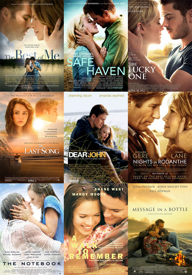 The nine films based on Nicholas Sparks novels