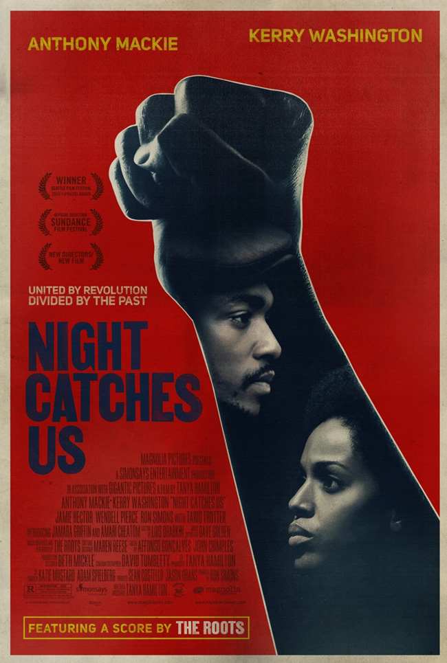 The movie poster for Night Catches Us with Anthony Mackie and Kerry Washington