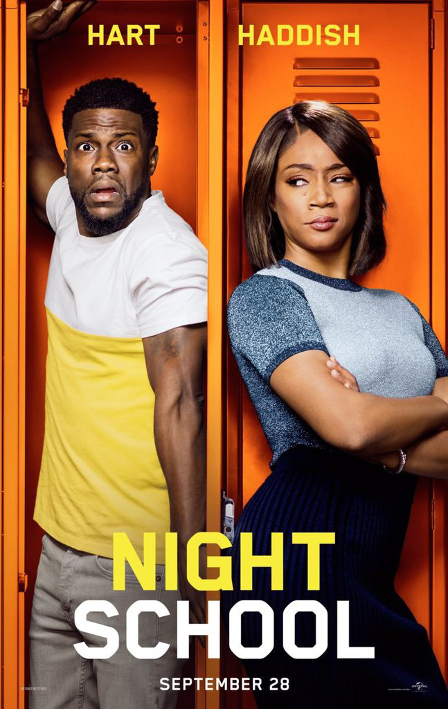 The movie poster for Night School starring Kevin Hart and Tiffany Haddish