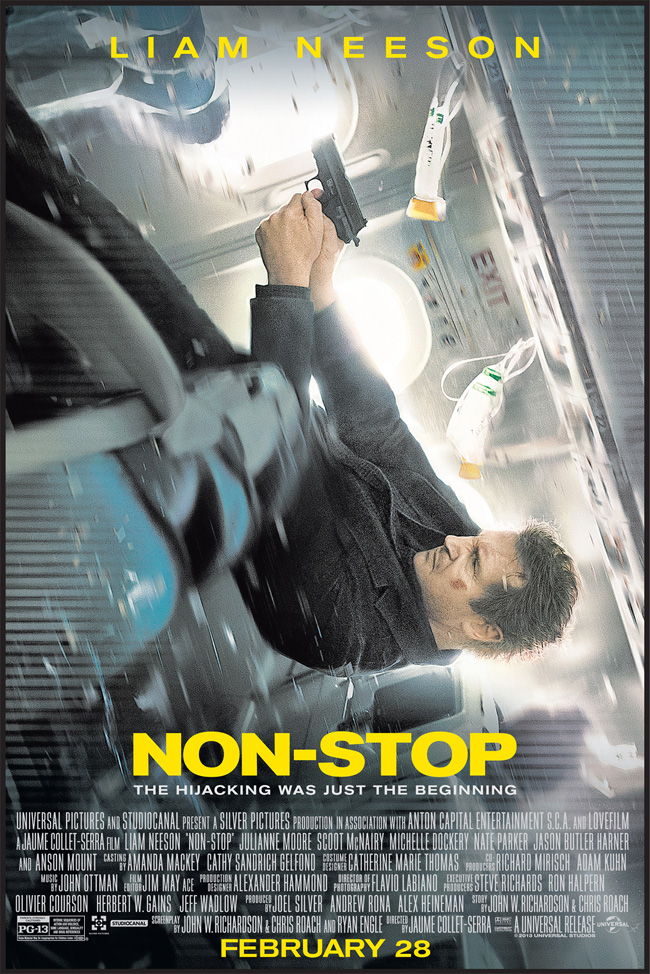The movie poster for Non-Stop with Liam Neeson and Julianne Moore