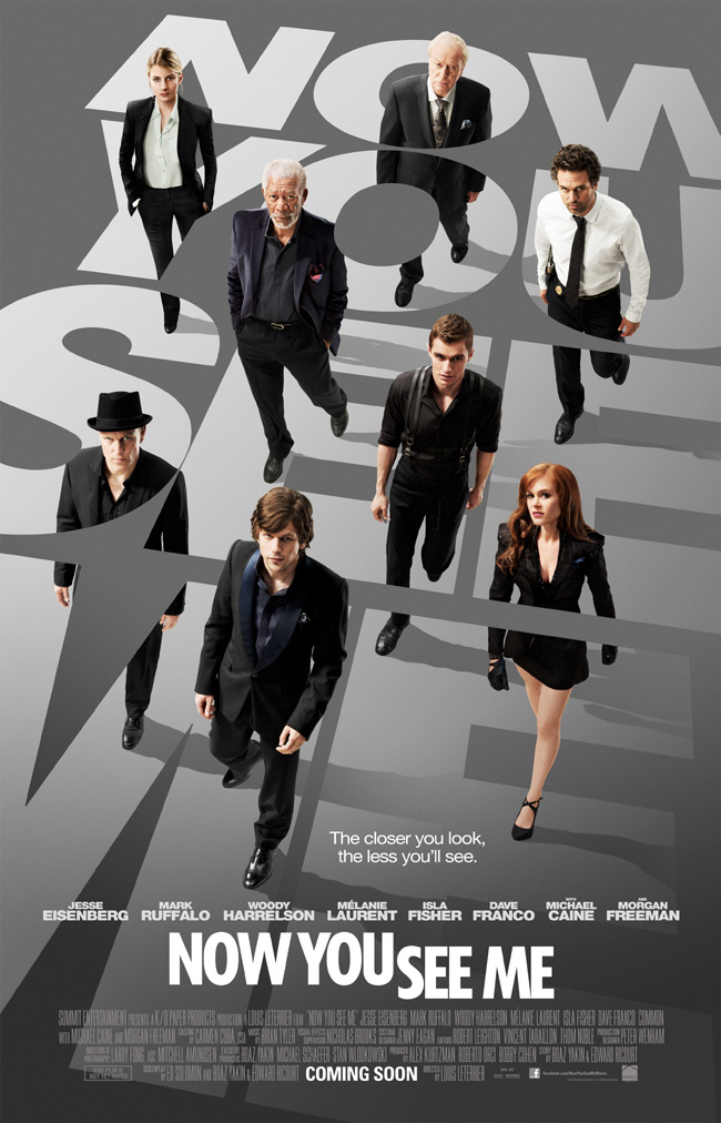 The movie poster for Now You See Me starring Jesse Eisenberg and Isla Fisher