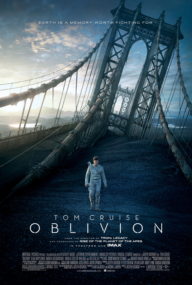 The movie poster for Oblivion starring Tom Cruise and Morgan Freeman