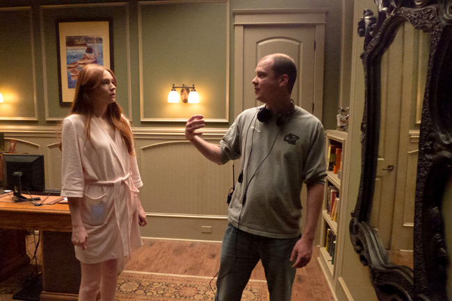 Karen Gillian and director Mike Flanagan in Oculus