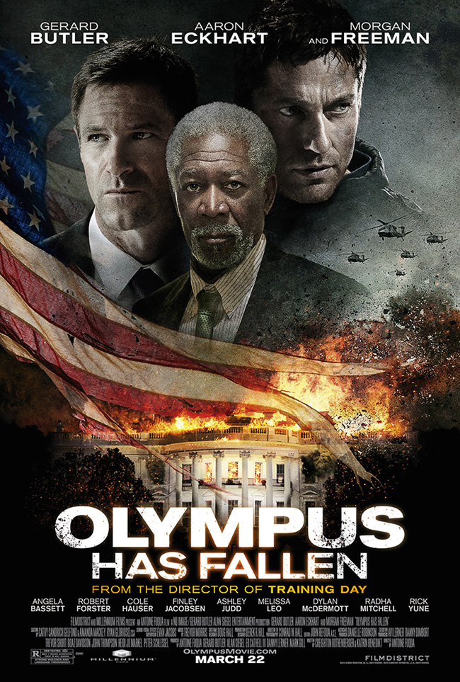 The movie poster for Olympus Has Fallen starring Morgan Freeman, Aaron Eckhart and Gerard Butler