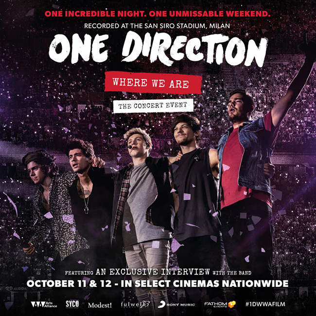 The event poster for One Direction: Where We Are – The Concert Event