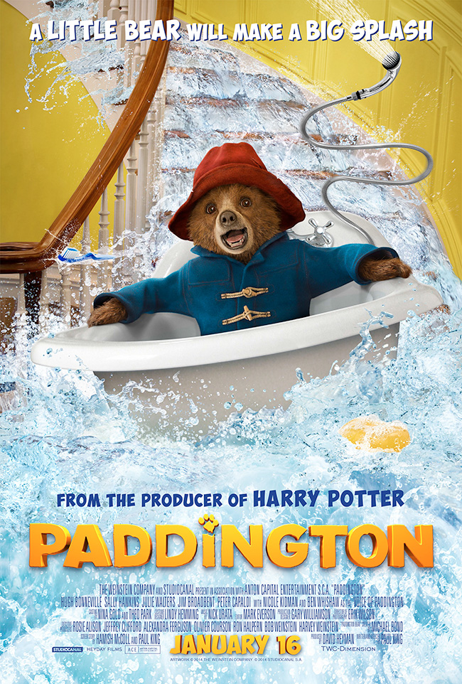 The movie poster for Paddington starring Ben Whishaw based on the beloved novels by Michael Bond