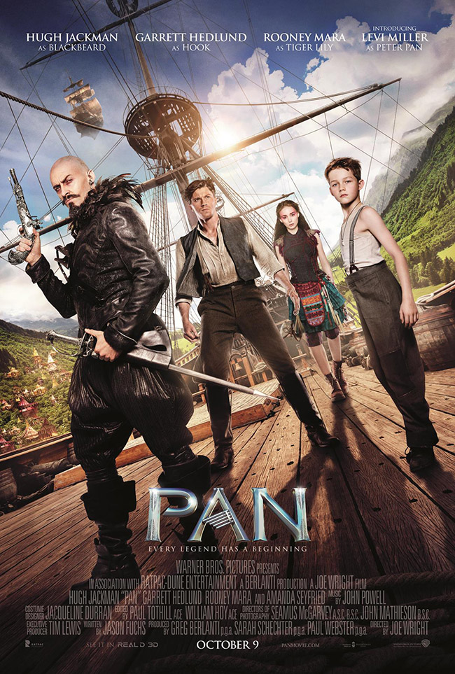 The movie poster for Pan starring Levi Miller and Hugh Jackman