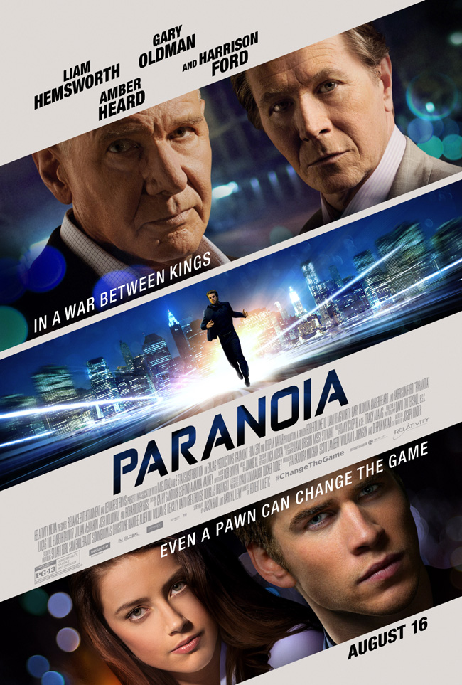 The movie poster for Paranoia starring Liam Hemsworth and Harrison Ford