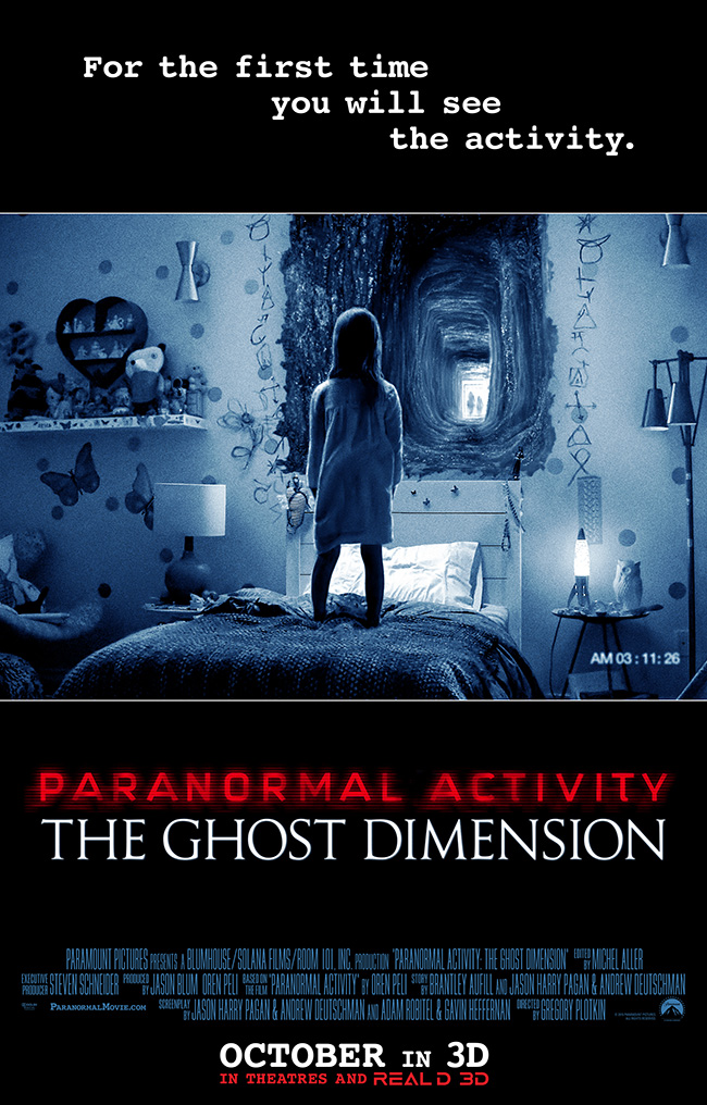The movie poster for Paranormal Activity: The Ghost Dimension