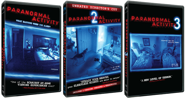 The DVDs for the first three Paranormal Activity films
