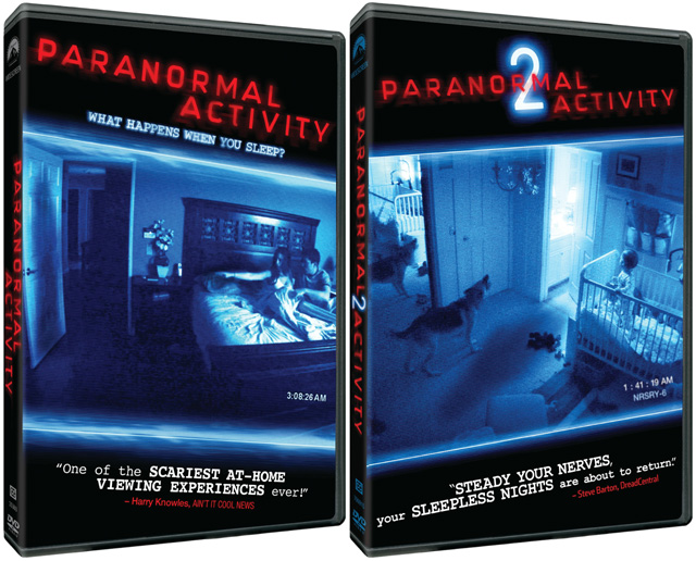 The Paranormal Activity and Paranormal Activity 2 DVDs