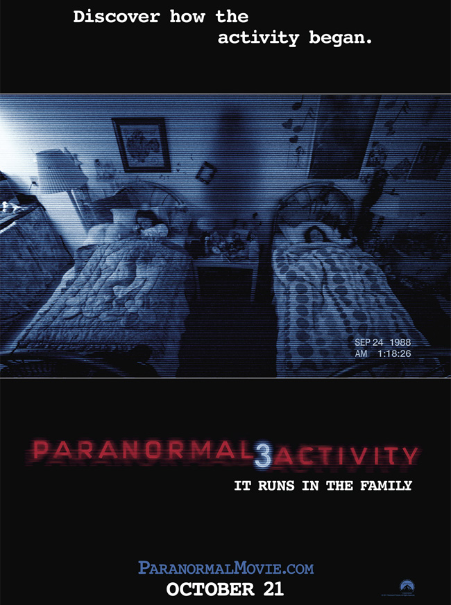 The movie poster for Paranormal Activity 3