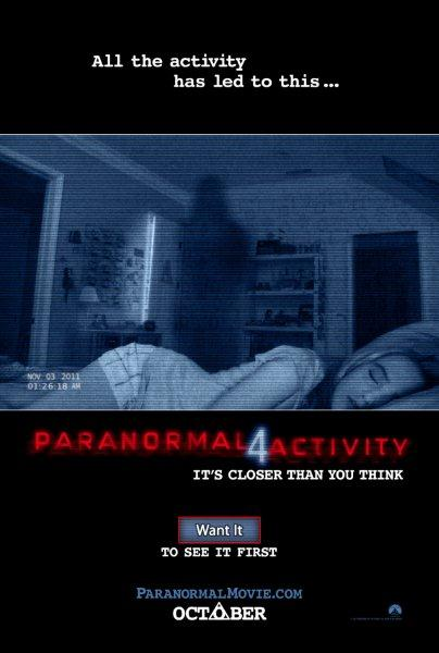 The Paranormal Activity 4 movie poster with Dianna Agron and Katie Featherston