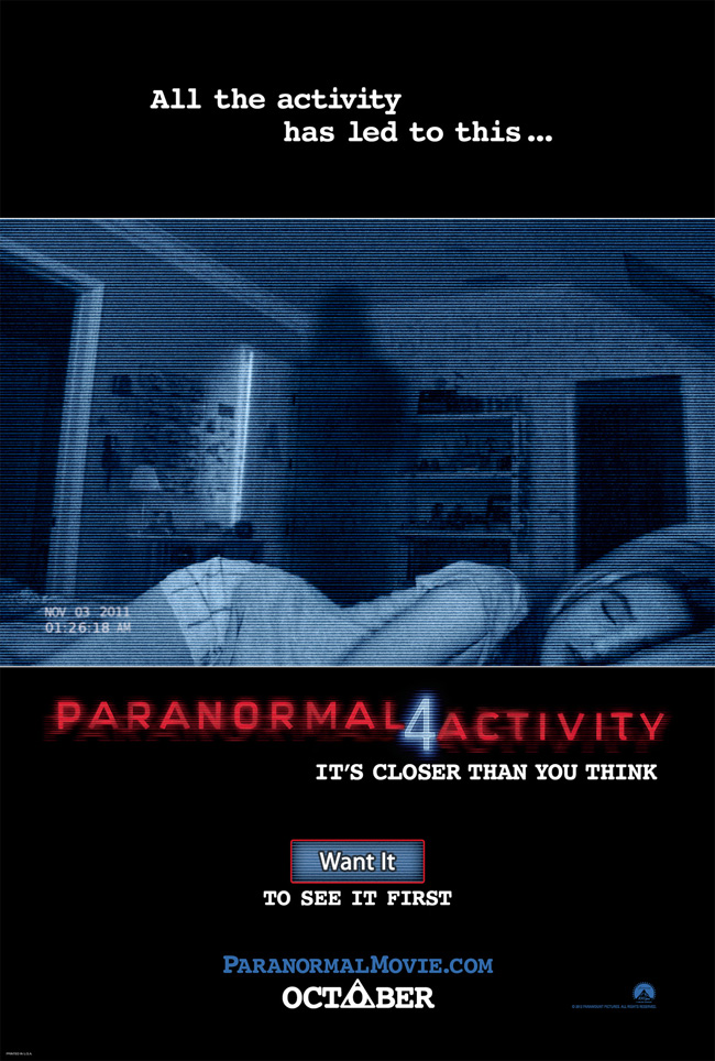 The movie poster for Paranormal Activity 4