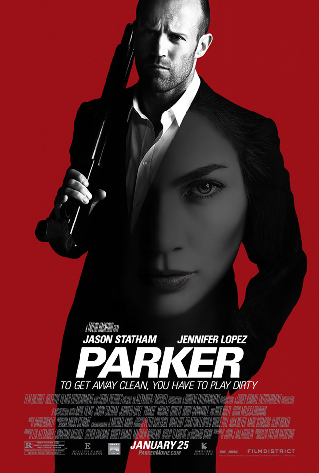 The movie poster for Parker starring Jason Statham and Jennifer Lopez