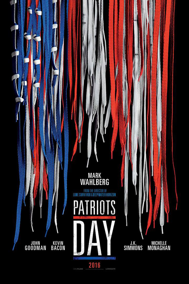 The movie poster for Patriots Day starring Mark Wahlberg and Michelle Monaghan