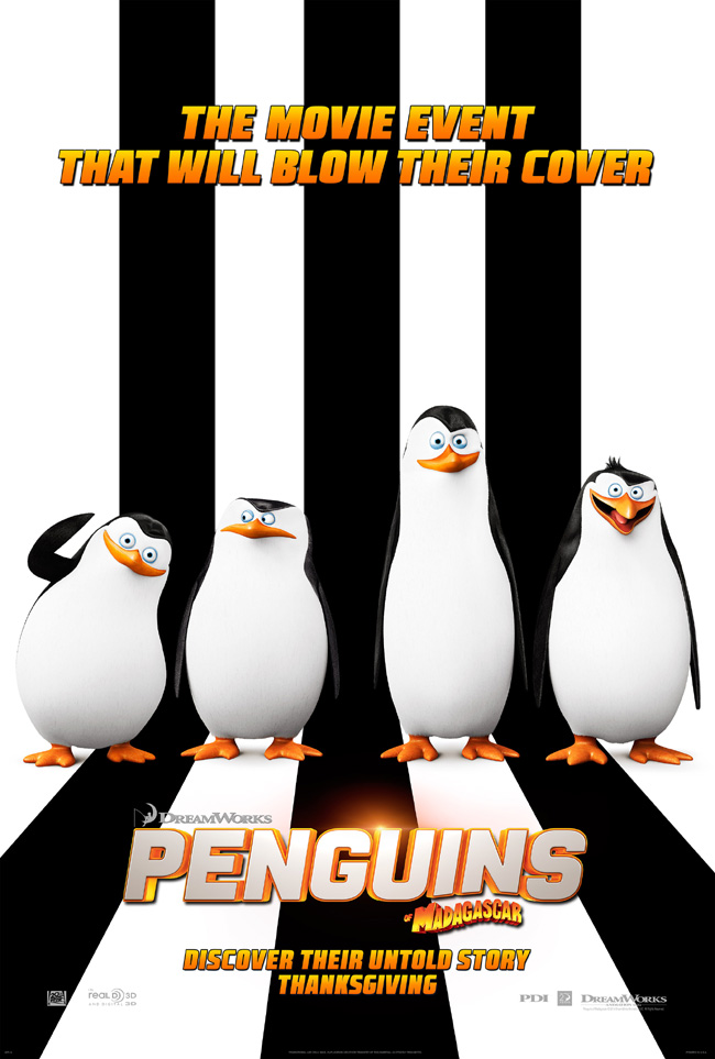 The movie poster for Penguins of Madagascar starring John Malkovich and Benedict Cumberbatch