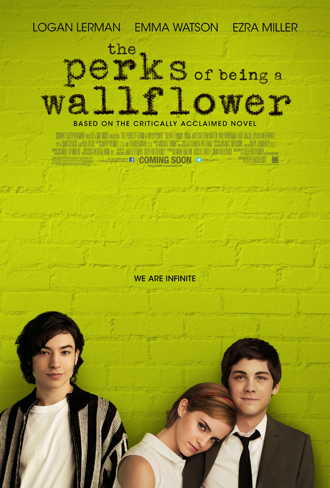The movie poster for The Perks of Being a Wallflower starring Emma Watson, Ezra Miller and Logan Lerman