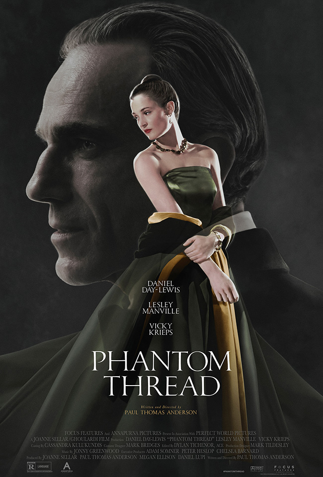 The movie poster for Phantom Thread from Paul Thomas Anderson starring Daniel Day-Lewis