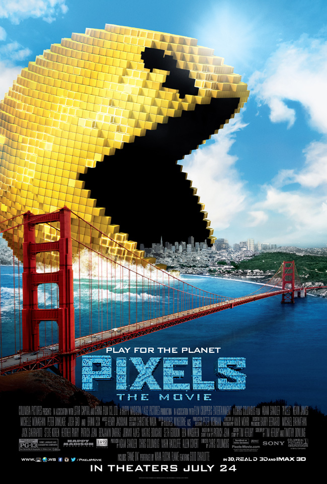 The movie poster for Pixels with Adam Sandler and Kevin James