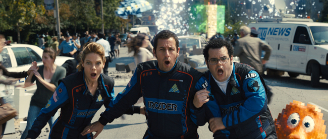 Michelle Monaghan, Adam Sandler and Josh Gad in Pixels