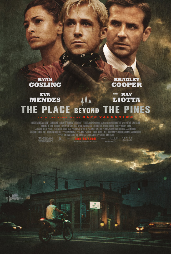 The movie poster for The Place Beyond the Pines with Ryan Gosling and Bradley Cooper
