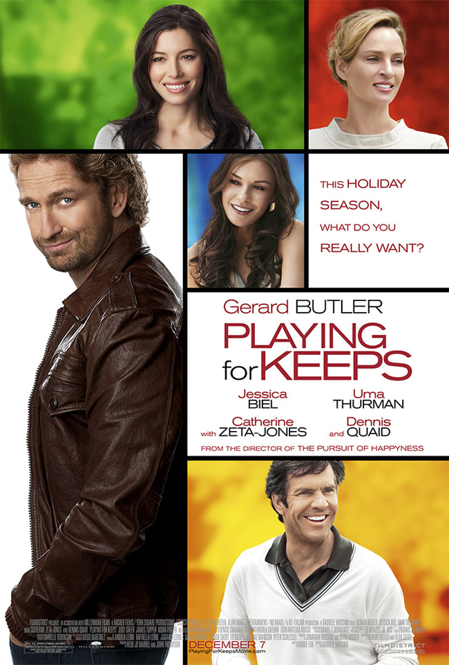 The movie poster for Playing For Keeps starring Gerard Butler and Jessica Biel