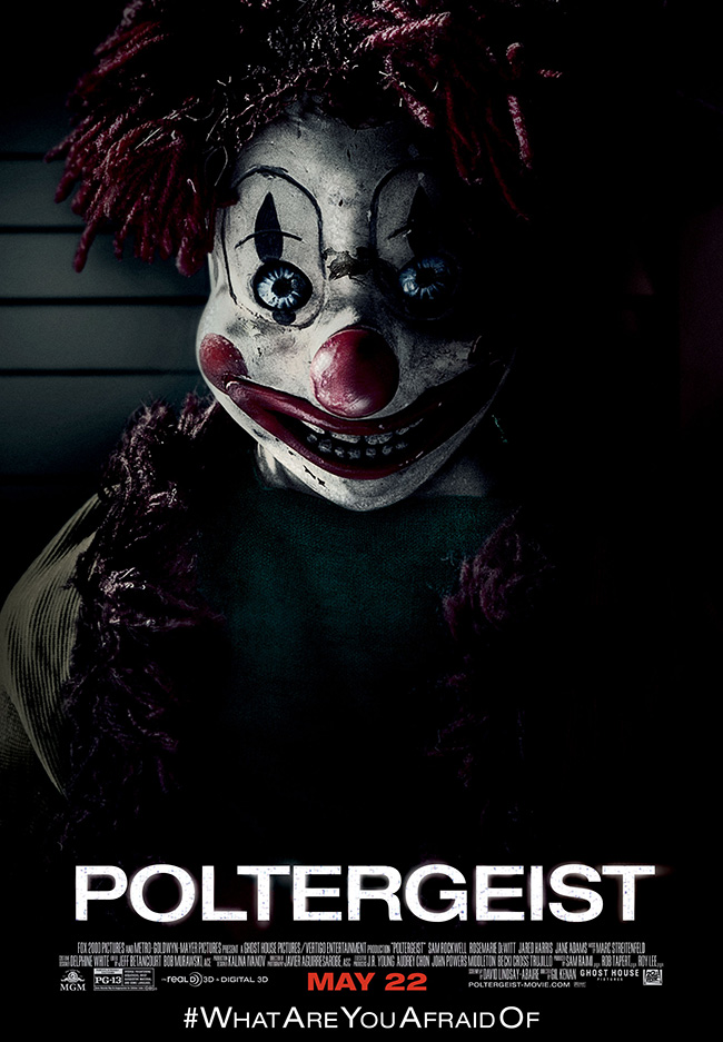 The movie poster for Poltergeist starring Sam Rockwell and Rosemarie DeWitt