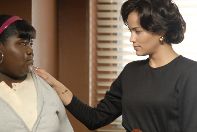 Precious (Gabourey Sidibe, left) and Ms. Rain (Paula Patton, right) in PRECIOUS: BASED ON THE NOVEL 'PUSH' BY SAPPHIRE. Photo credit: Anne Marie Fox.