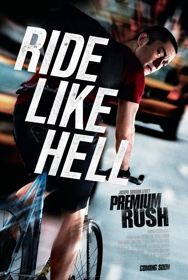 The Premium Rush movie poster with Joseph Gordon-Levitt and Michael Shannon