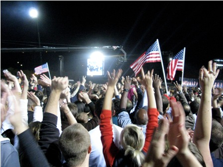 The crowd erupts at Grant Park on Election Night in a scene from Jeff Deutchman's 11/4/08.
