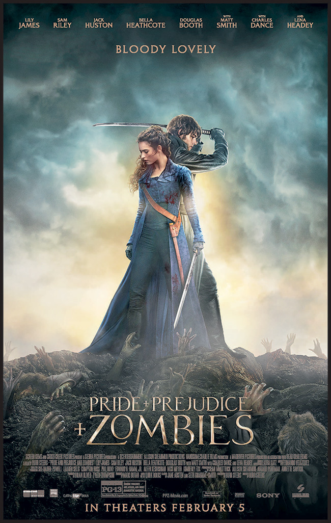 The movie poster for Pride and Prejudice and Zombies starring Lily James based on the novel by Jane Austen