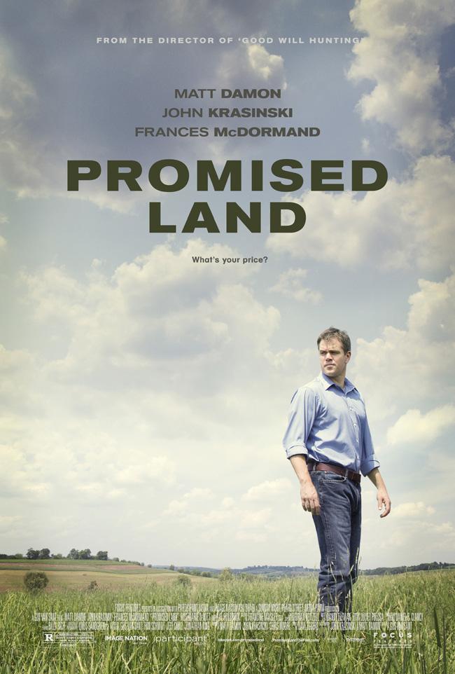 The movie poster for Promised Land starring Matt Damon, Frances McDormand and John Krasinski