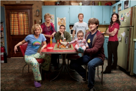 Jimmy Chance (Lucas Neff, second from R) is a well-meaning screw-up trying his best to raise his infant daughter with the help of the eccentric family who did a less-than-stellar job raising him in RAISING HOPE premiering this fall on FOX. Also Pictured L-R: Martha Plimpton, Cloris Leachman, Garret Dillahunt, Skyler Stone and Shannon Woodward.