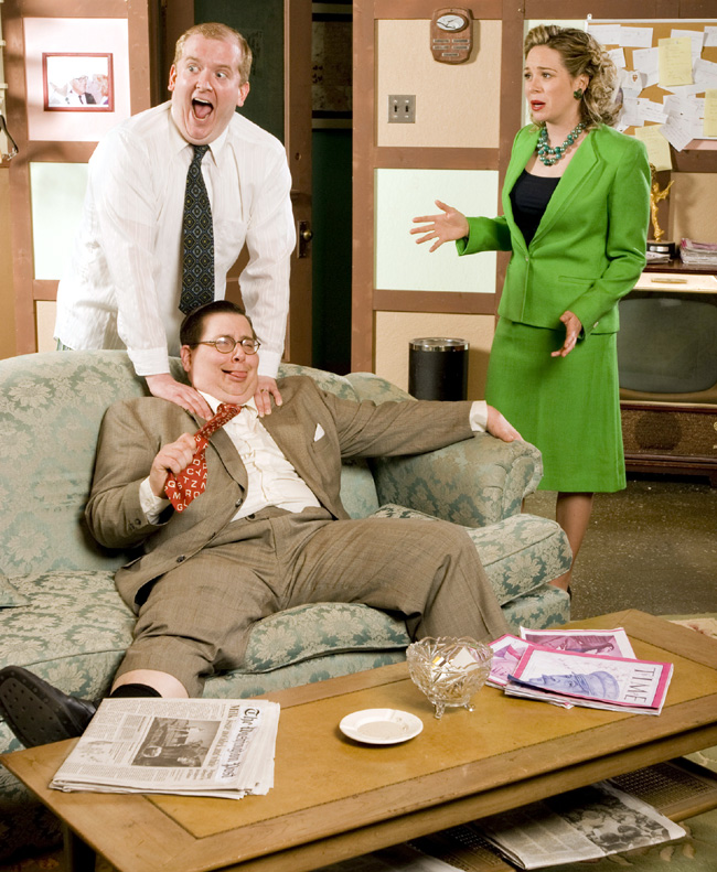 Eric Roach as Max Prince, Mackenzie Kyle as Carol Wyman and Noah Simon (seated) as Milt Fields in Laughter on the 23rd Floor at the Raven Theatre through July 26, 2008