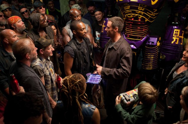 Anthony Mackie and Hugh Jackman in Real Steel