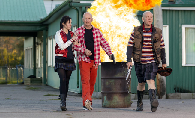 Mary-Louise Parker, Bruce Willis and John Malkovich in Red 2